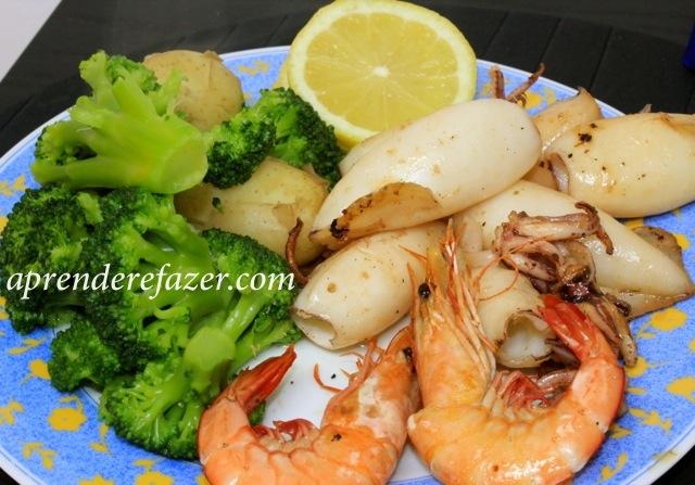 receita de lulas salteadas com camarão