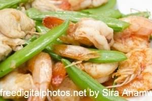 receita de camarão com feijão verde