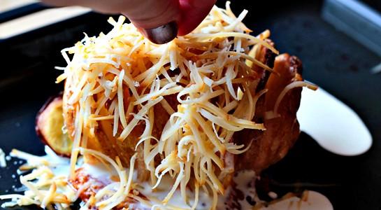 receita de Batata com queijo e bacon